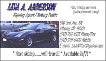 Anderson OR notary signing agent business card