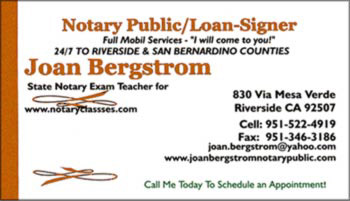 bergstrom ca notary signing agent business card - Notary Business Cards