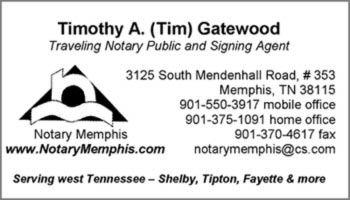 Gatewood TN notary signing agent business card