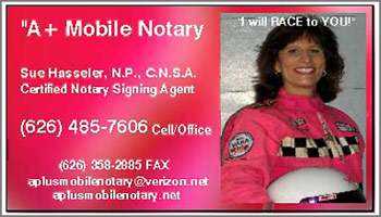 Hasseler CA notary public business card
