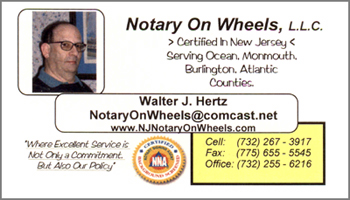 Hertz NJ notary signing agent business card