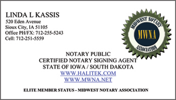 kassis ia notary signing agent business card - Notary Business Cards