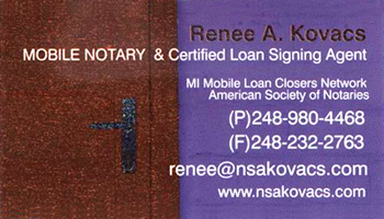Kovacs MI Notary Public business card