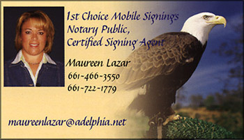 Lazar CA Notary Public business card