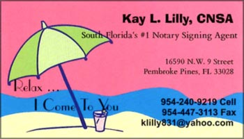 Lilly FL notary signing agent business card
