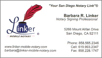 Linker CA notary signing agent business card