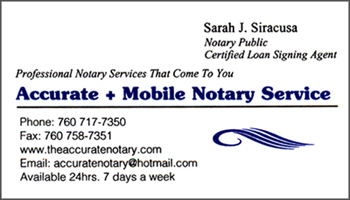 siracusa ca notary signing agent business card - Notary Business Cards