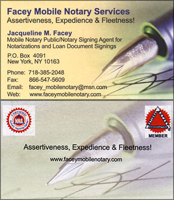 Facey NY notary signing agent business card